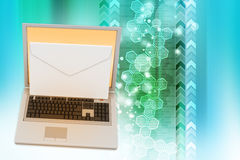 E-mail concept. Modern Laptop and envelope Stock Photos