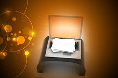 E-mail concept. Modern Laptop and envelope Stock Image