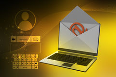 E-mail concept. Modern Laptop and envelope Stock Images