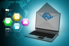 E-mail concept. Modern Laptop and envelope Royalty Free Stock Photography