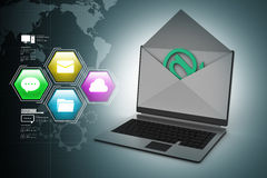 E-mail concept. Modern Laptop and envelope Royalty Free Stock Photos