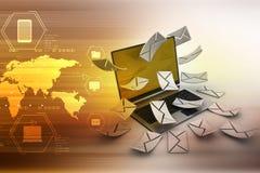 E-mail concept. Modern Laptop and envelope Stock Photos