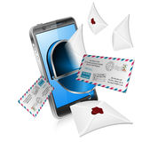 E-Mail Concept. Mail from Screen Smartphone, isolated on white background Royalty Free Stock Photo