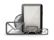 E-mail concept - shape of envelopes and tablet computer Stock Image