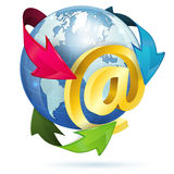 E-Mail Concept. With At Sign, Earth and Arrows, vector icon isolated on white background Stock Photo