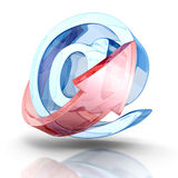E-mail concept with AT symbol and arrow Royalty Free Stock Images