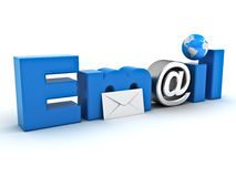 E-mail concept, woord e-mail met envelop, bolkaart Stock Afbeelding