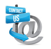 E mail contact us at sign. Illustration design over white stock illustration