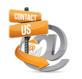 E mail contact us at sign illustration design. Over white royalty free illustration