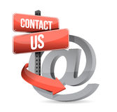 E mail contact us at sign illustration design Royalty Free Stock Photo