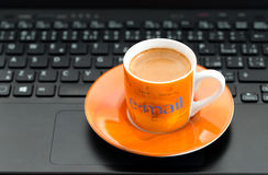 E-mail Cup of coffee Stock Photography