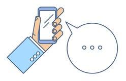 e - mail cyfrowego formatu ręce gospodarstwa komórki wysyłającego royalty ilustracja