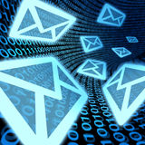 E-mail data transfer communications promotion spam. E-mail data transfer symbol with binary code background representing internet communications and digital mail Stock Photography
