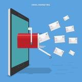 E-Mail, die flaches Vektorkonzept vermarktet Stockfotos