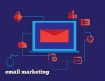 E-mail die het de vectorpictogrammen en notitieboekje van de conceptenillustratie op de markt brengen royalty-vrije illustratie