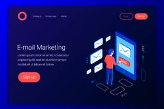 E-mail die isometrisch concept op de markt brengen Communicatie concept vector illustratie