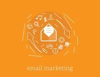 E-mail die vectorconceptenillustratie op de markt brengen Stock Foto's
