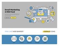 E-mail die vlakke lijnbanner op de markt brengen stock illustratie