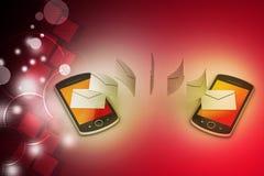 E-Mail, die zwischen intelligentem Telefon teilt Lizenzfreie Stockfotografie