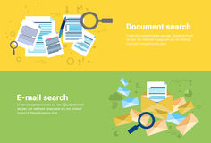 E-mail Document Search Digital Content Information Technology Business Web Banner. Flat Vector Illustration Royalty Free Stock Photo