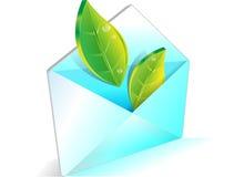 E-mail, ecologie, die aard, groene bladeren bewaart Stock Afbeelding
