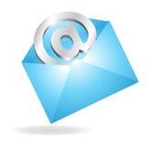 E-mail in een Brief Stock Afbeeldingen