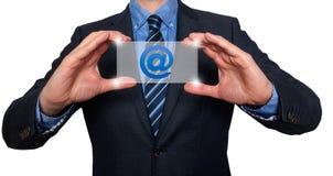 E-mail en contactsymbolen voor zakenman - Voorraadbeeld Royalty-vrije Stock Fotografie