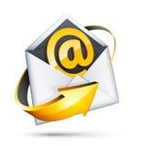E-mail en pijlconcept Stock Afbeeldingen