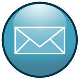 E-mail Envelope Button Icon (Blue). Highresolution blue button/icon style image of e-mail envelope royalty free illustration