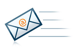 E-Mail Envelope letter. With reflections that can easily be removed and speed lines stock illustration