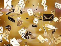 E-mail. Falling golden e-mail icons. Abstraction Royalty Free Stock Photos