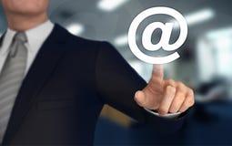 E mail   pushing concept 3d illustration. E mail      with finger pushing concept 3d illustration Stock Images