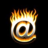 E-MAIL! Flaming E-MAIL. Stock Photo