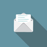 E-Mail Flat Icon with Long Shadow, Vector Stock Photography