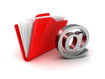 E-mail folder at symbol metallic icon Royalty Free Stock Image