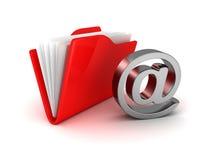 E-mail folder at symbol metallic icon. Concept 3d render illustration Royalty Free Stock Image