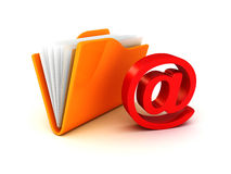 E-mail folder at symbol red icon. Concept 3d render illustration Royalty Free Stock Photo