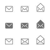 E-mail geplaatste pictogrammen Stock Afbeelding