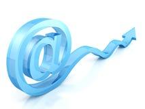 At e-mail glass symbol with blue arrow. 3d Stock Photos