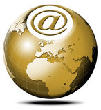 E-mail global. Pulsating icon with symbol e-mail and terrestrial globe Royalty Free Stock Images
