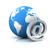E mail and globe concept 3d illustration Stock Photo