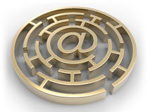 E-Mail-goldenes Labyrinth lokalisiert Stock Abbildung