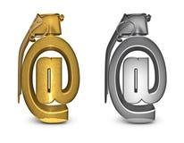 E-mail granaat in goud en zilver Royalty-vrije Stock Afbeeldingen