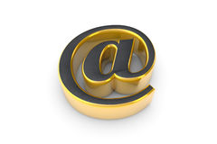 E-mail grey&gold symbol. 3D render illustration. Isolated over w Stock Photography