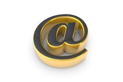 E-mail grey&gold symbool 3d geef illustratie terug Geïsoleerdr over w Stock Fotografie