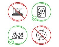 E-mail, Hdd and People communication icons set. Refresh cart sign. New message, Memory disk, People talking. Vector. Do or Stop. E-mail, Hdd and People vector illustration