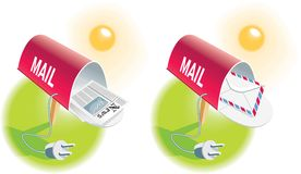 E-mail icon. E-mail-Mail boxes with newspaper and envelope and power cords Royalty Free Stock Photo