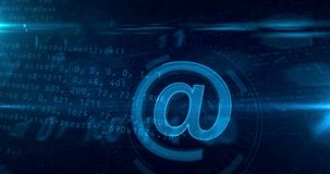 E-mail sign concept 4K. E-mail @ at icon abstract concept. Looping tunnel abstract animation of internet communication and social media icon stock video footage