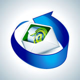 E-mail icon with blue arrow Royalty Free Stock Photo