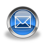 E-mail icon, blue and glossy Stock Images